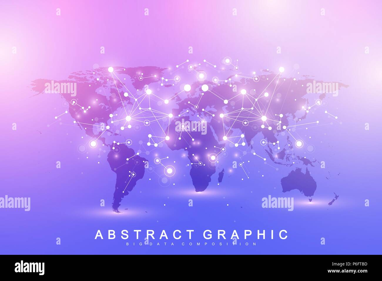 Vector template World map with global technology networking