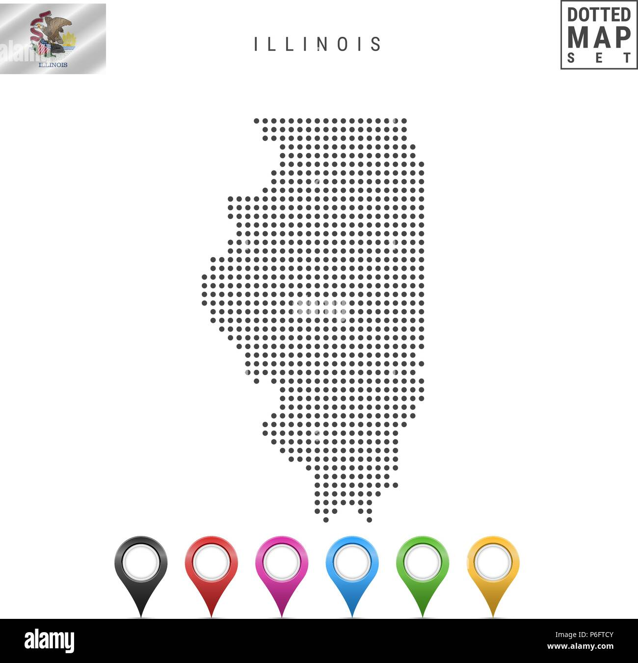Dots Pattern Vector Map of Illinois. Stylized Silhouette of Illinois. Flag of Illinois. Set of Multicolored Map Markers - Stock Vector