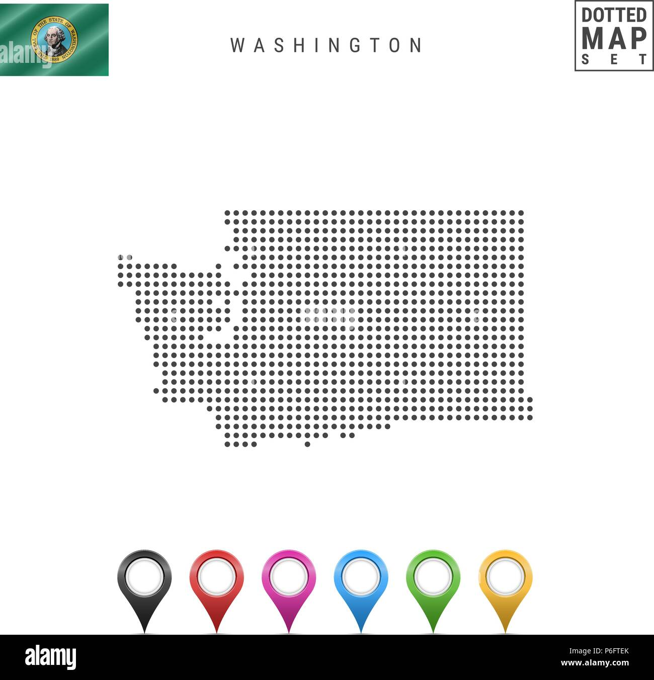 Dots Pattern Vector Map of Washington. Stylized Silhouette of Washington. Flag of Washington. Multicolored Map Markers - Stock Vector