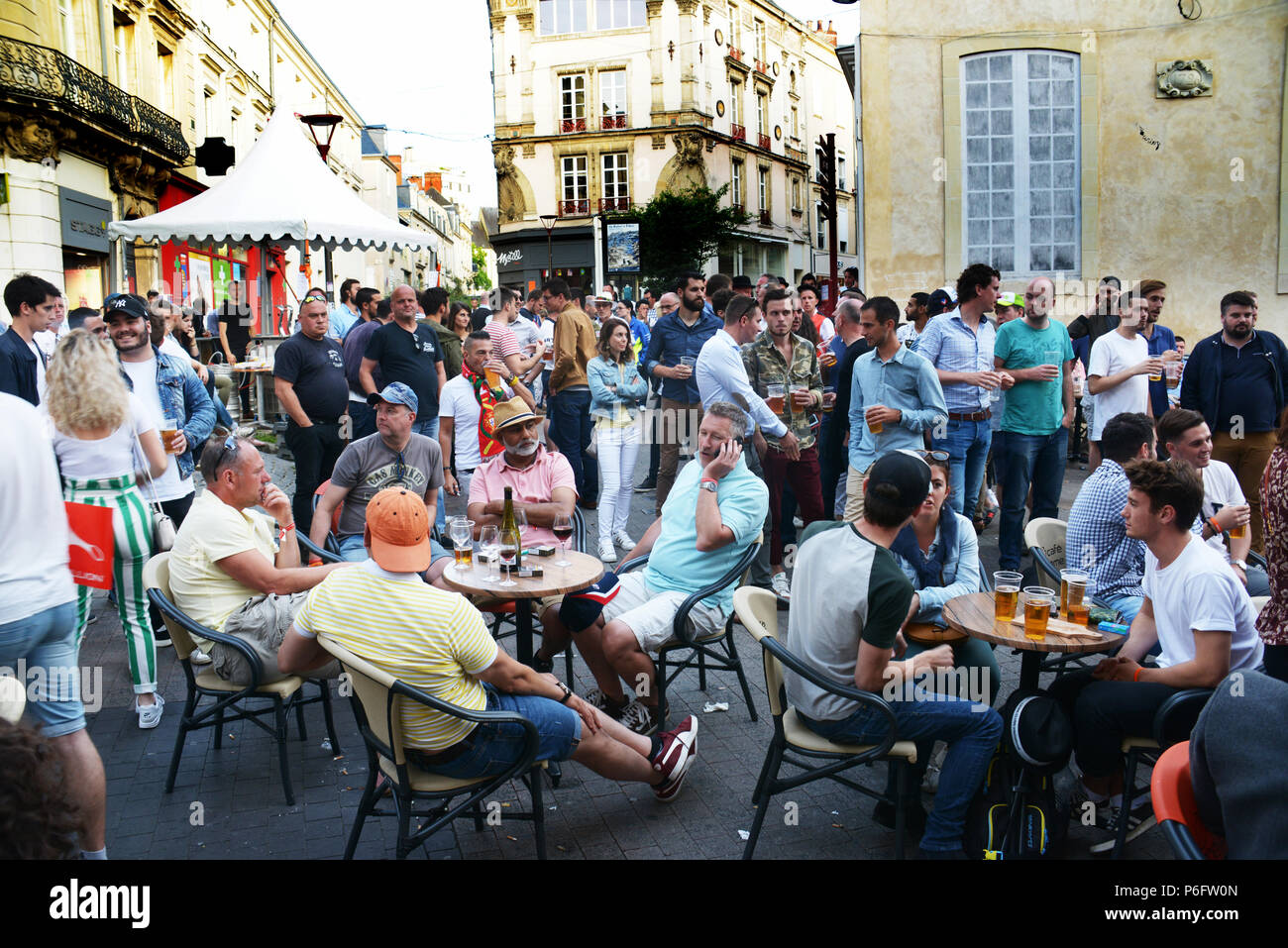 The 24 hours Car Race organisers hold a pre-race party in the town for all the local people and tourists as well as Race crews - Stock Image