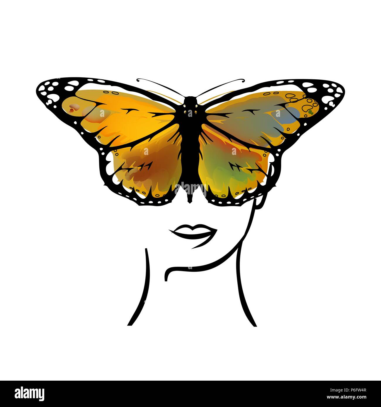 set Monarch Butterfly with open wings  top view - Stock Vector