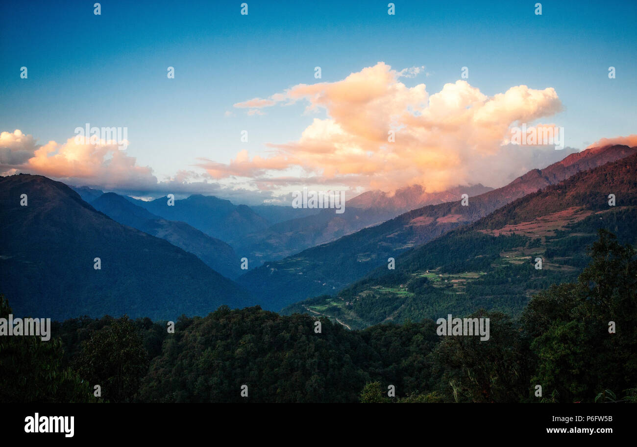 Himalayan foothills on the way to the Phobjika Valley. Bhutan. - Stock Image