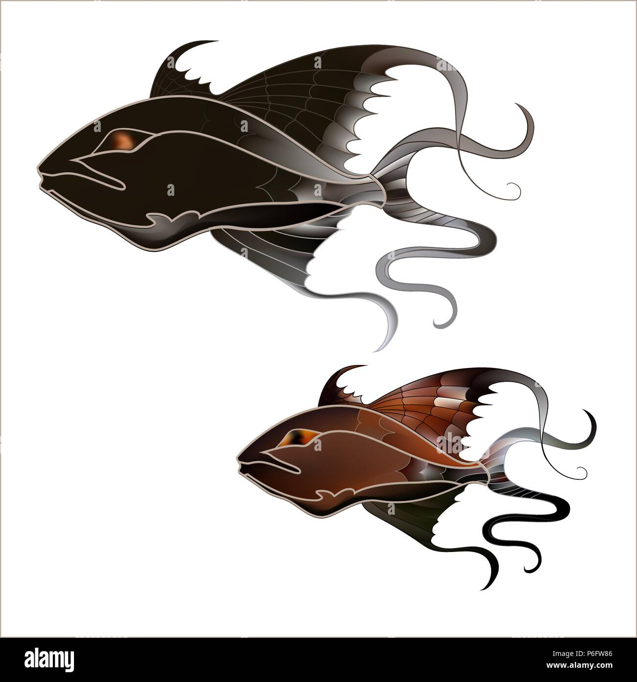 Fabulous illustration of a fantastic marine fish delicate purple shades - Stock Image
