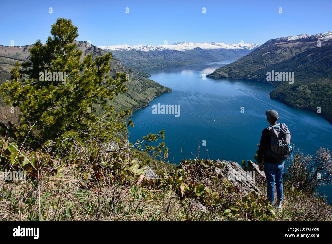 Enjoying the view, Kanas Lake National Park, Xinjiang, China - Stock Image