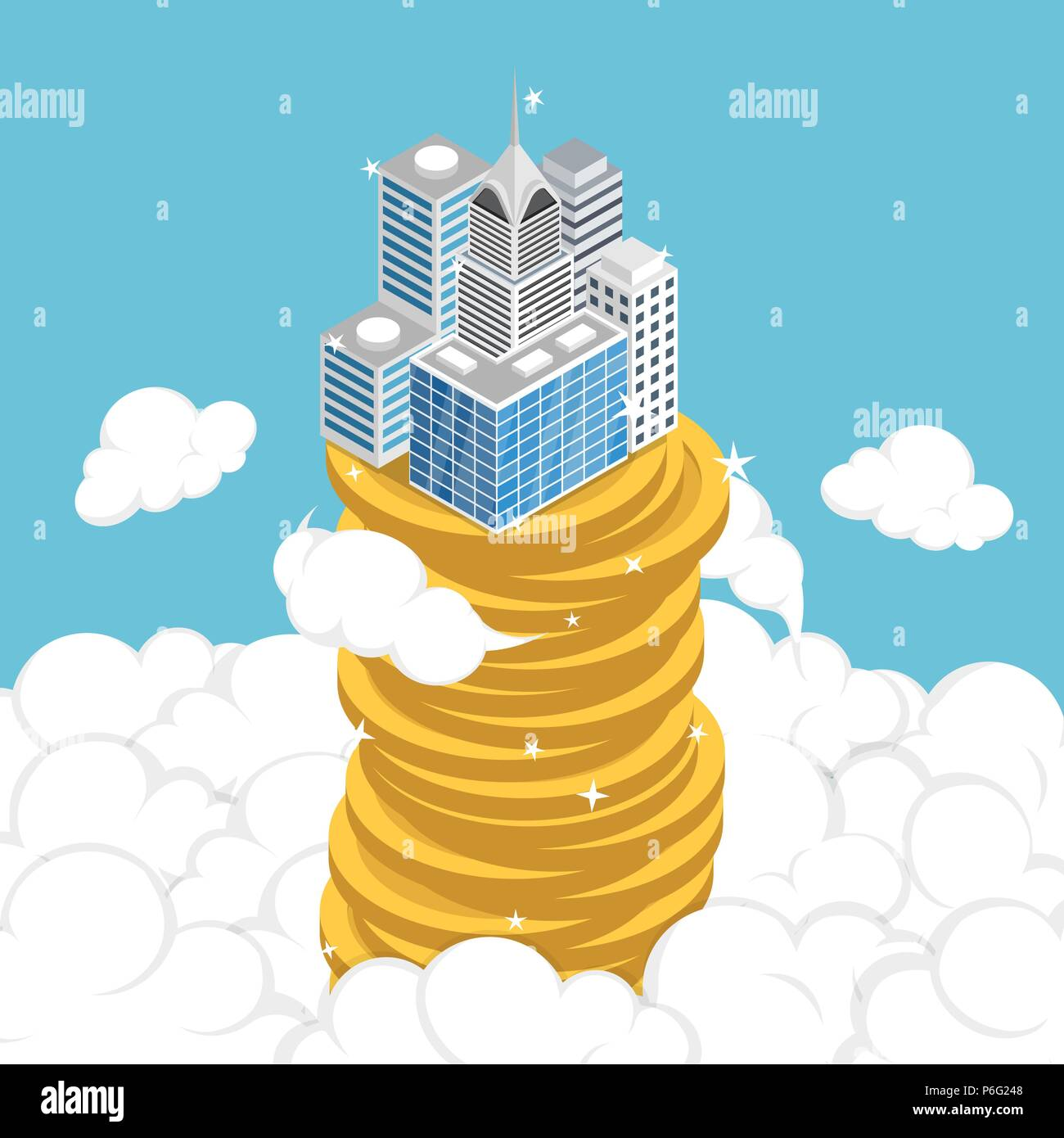 Flat 3d isometric business building on stack of coin above the cloud. Business success and economic growth concept. Stock Vector