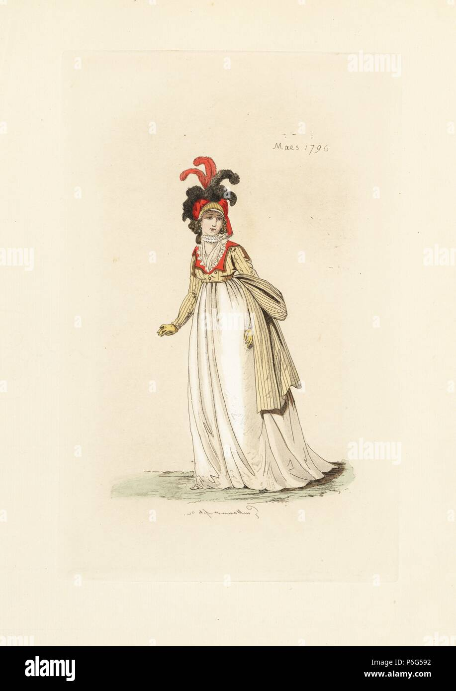 f6c0eada2c5 English woman in the fashion of March 1796. She wears a bonnet with plumes