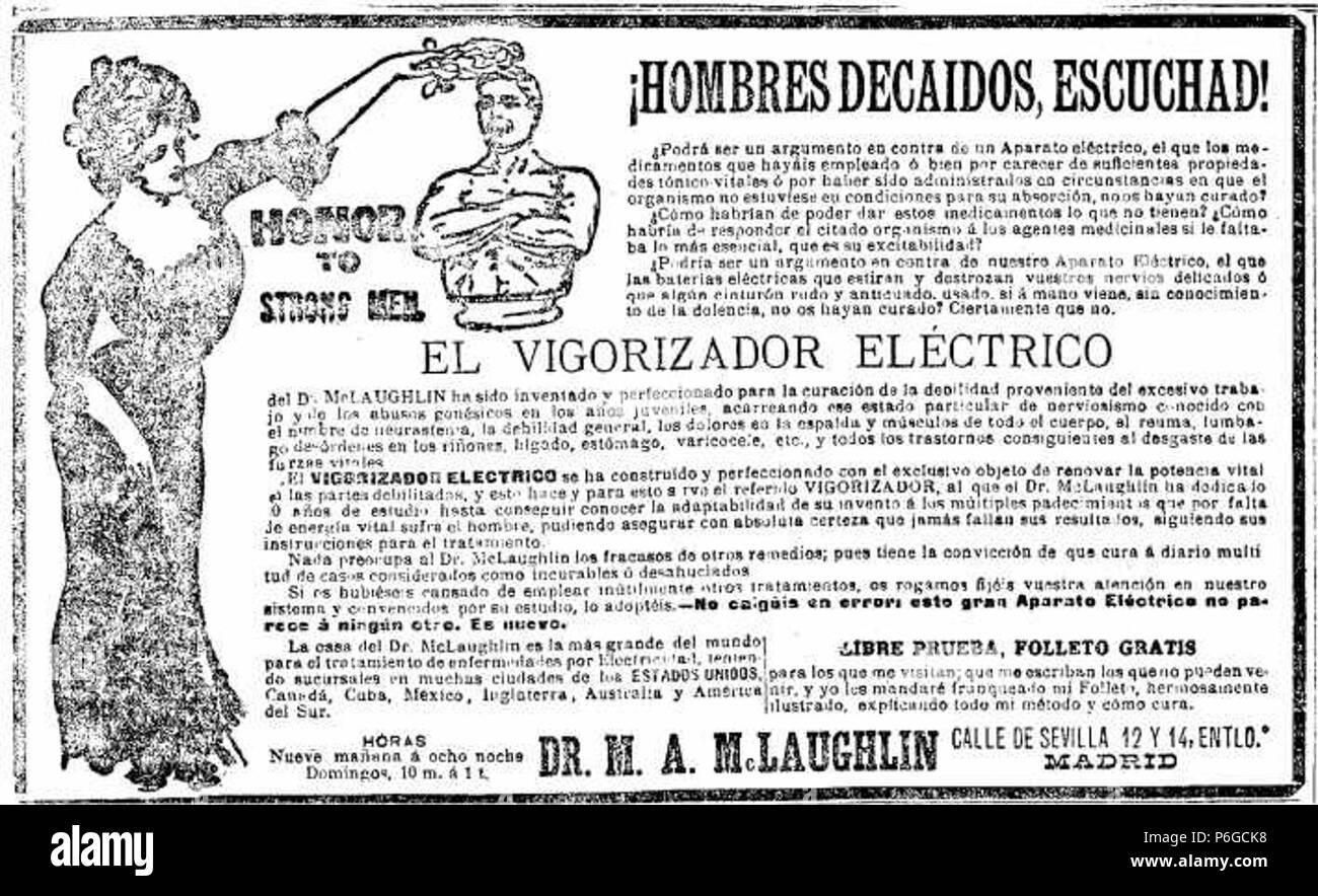 1902-Vigorizador-electrico-McLaughlin-hombres-decaidos-escuchad. - Stock Image