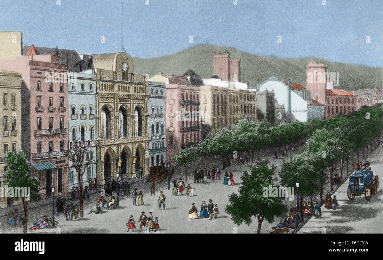 Spain. Catalonia. Barcelona. Lithography. La Rambla and the Gran Teatro del Liceo (Opera house), before his fire in 1861. Engraving. Colored. - Stock Image