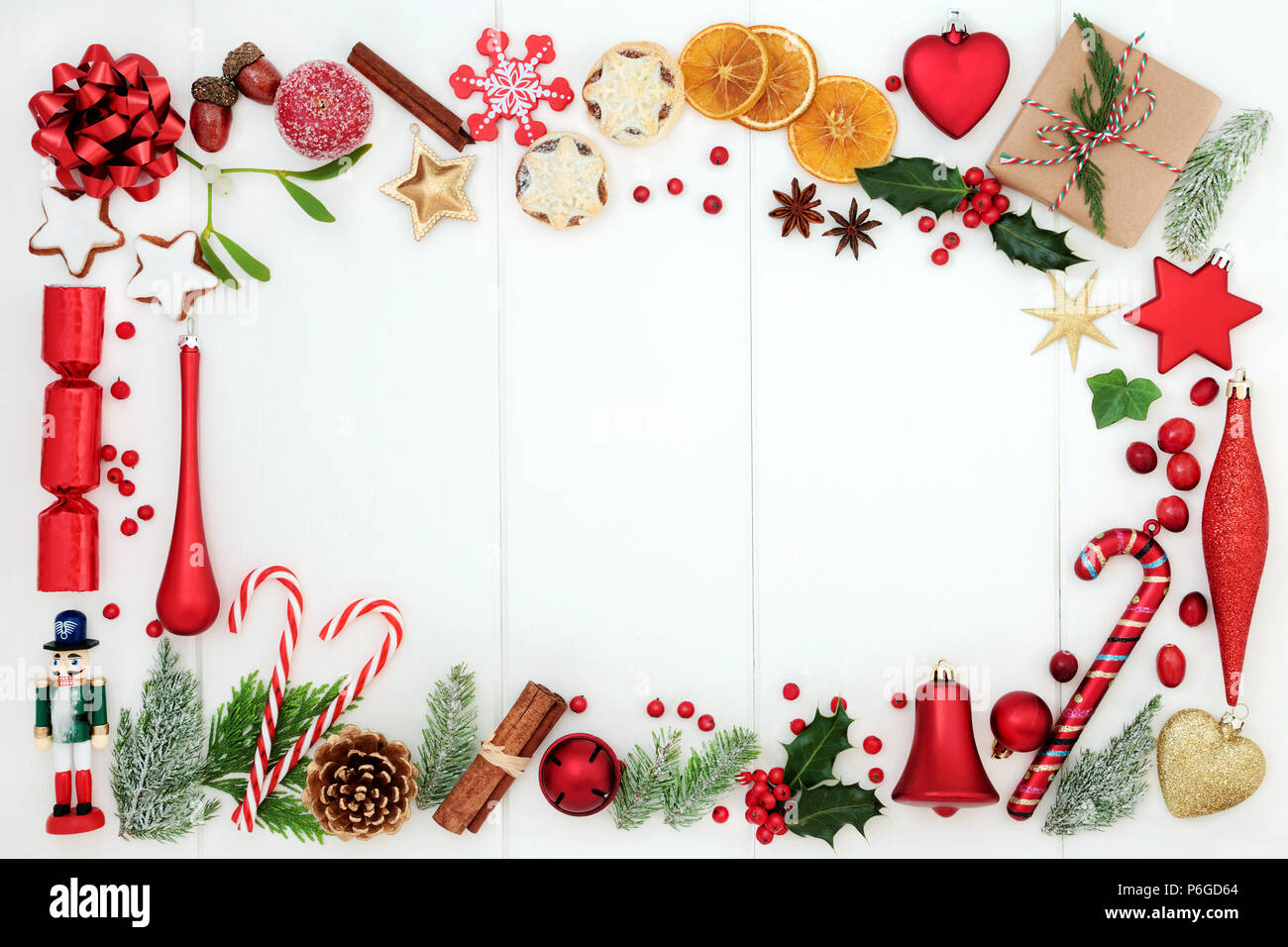 Christmas Background Border With Traditional Symbols Of Bauble