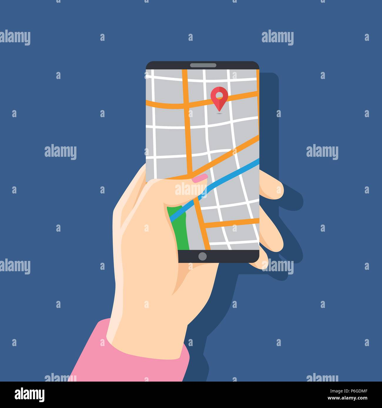 Business woman holding phone with map and with gps navigation for tracking concept.  for web sites, banners. Location track app on touch screen smartp - Stock Vector