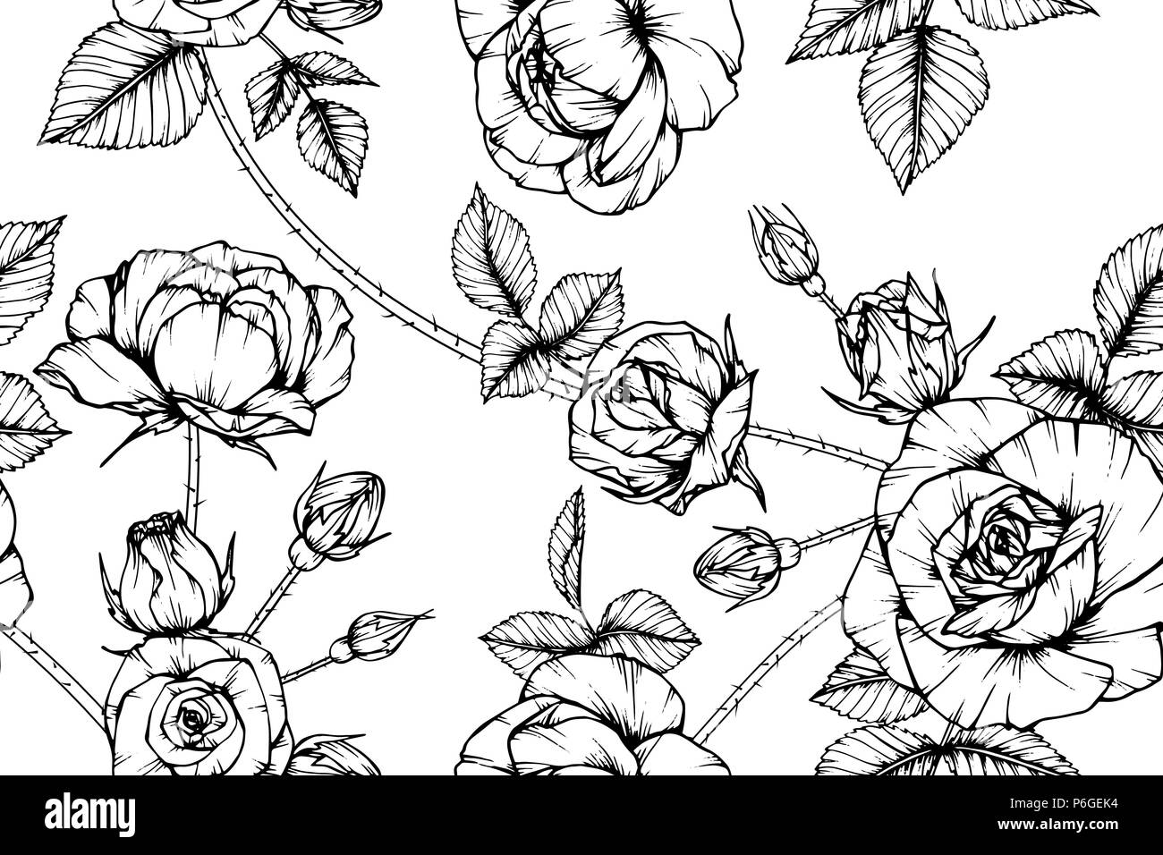Seamless Rose flower pattern background. Black and white with ...