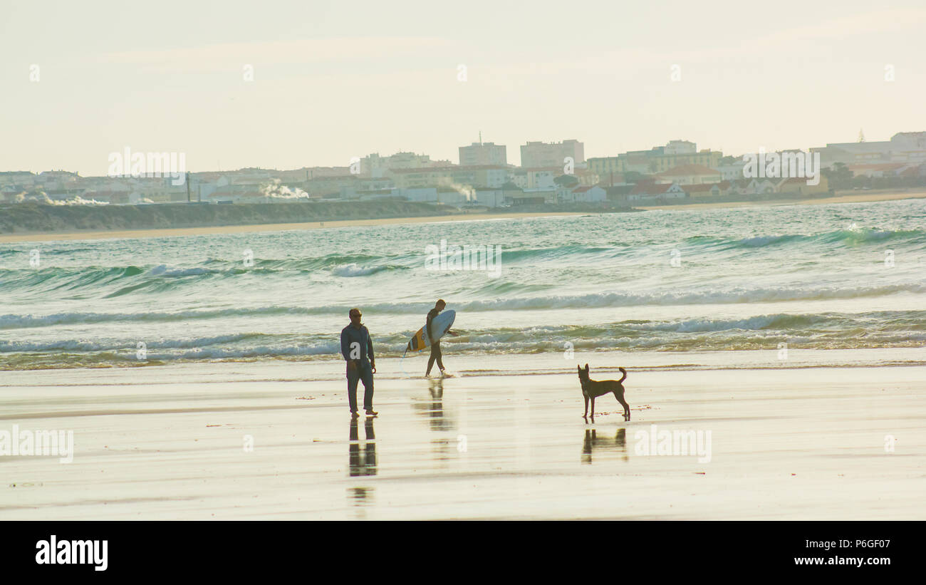 Seafront scene in the serenity of spring on Baleal beach, Peniche, Portugal: a surfer, a man and a dog. We can see reflections in the wet sand. - Stock Image