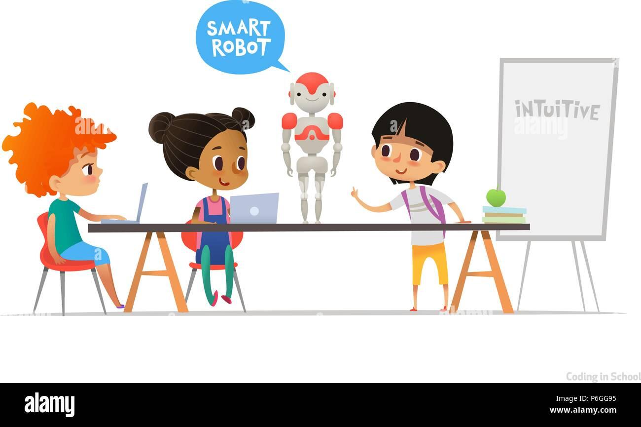 Smiling Children Sitting At Laptops Around Smart Robot Standing On