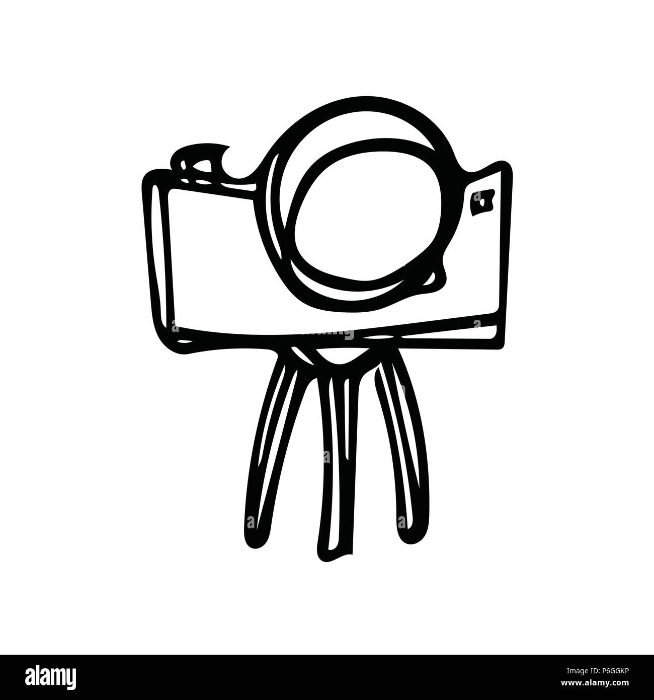 Old style Camera on tripod doodle - Stock Image