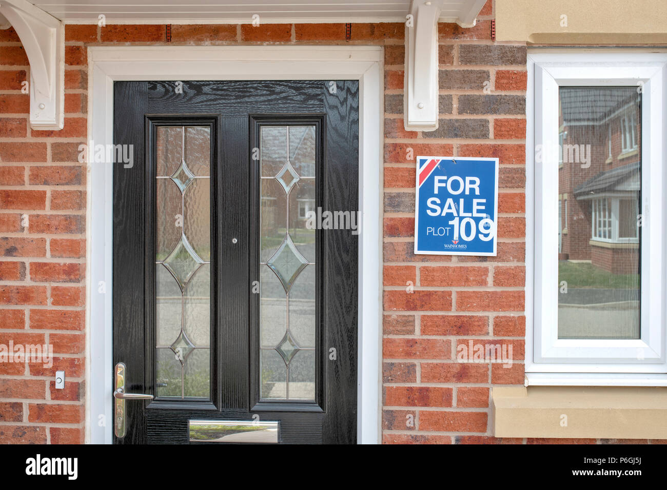 Close Up Of The Front Door Of A New House Stock Photo 210577854 Alamy