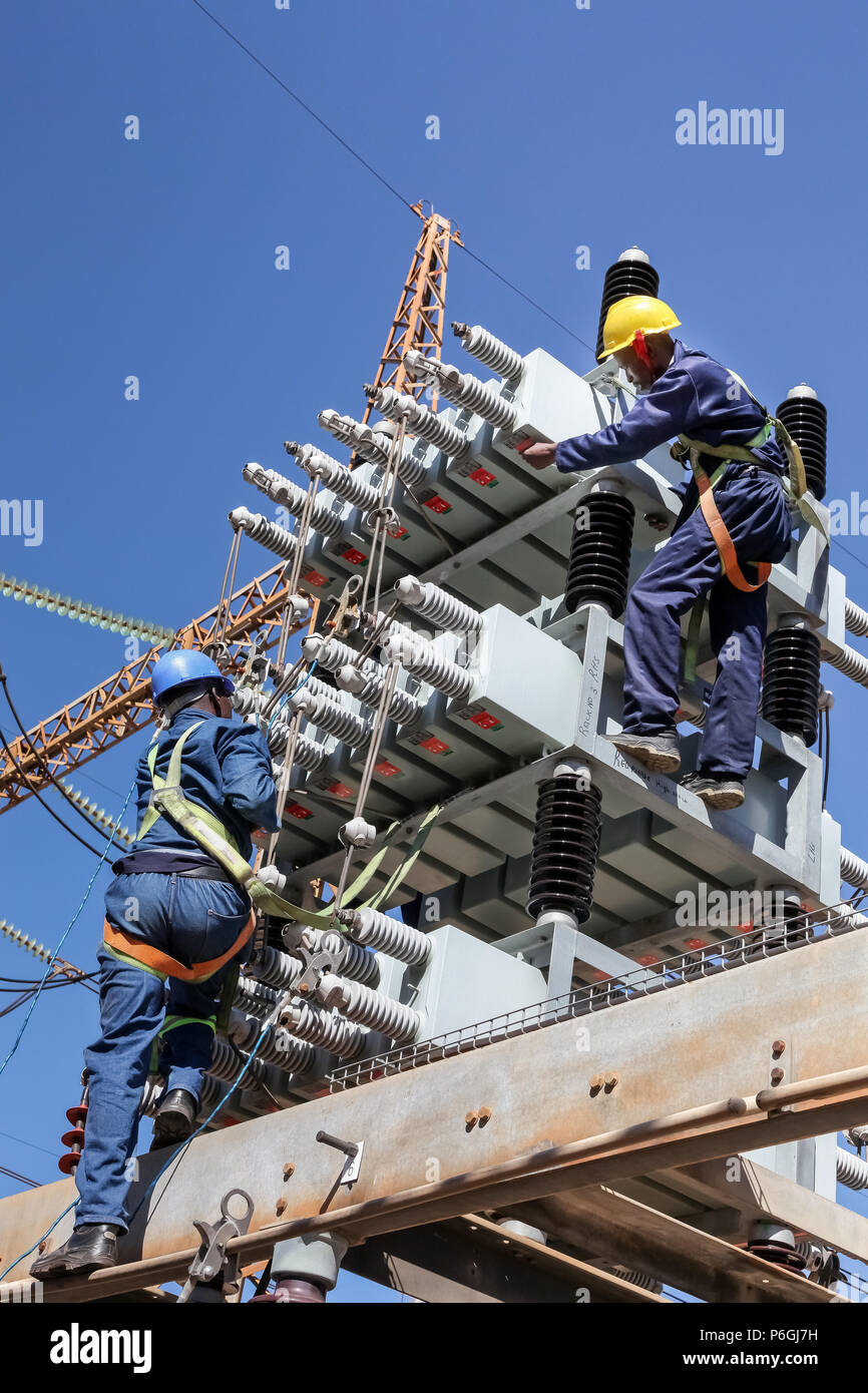Highly Protective Stock Photos Images Alamy High Voltage Yard Training Simulator Johannesburg South Africa 04 11 2012 Electricians Working On