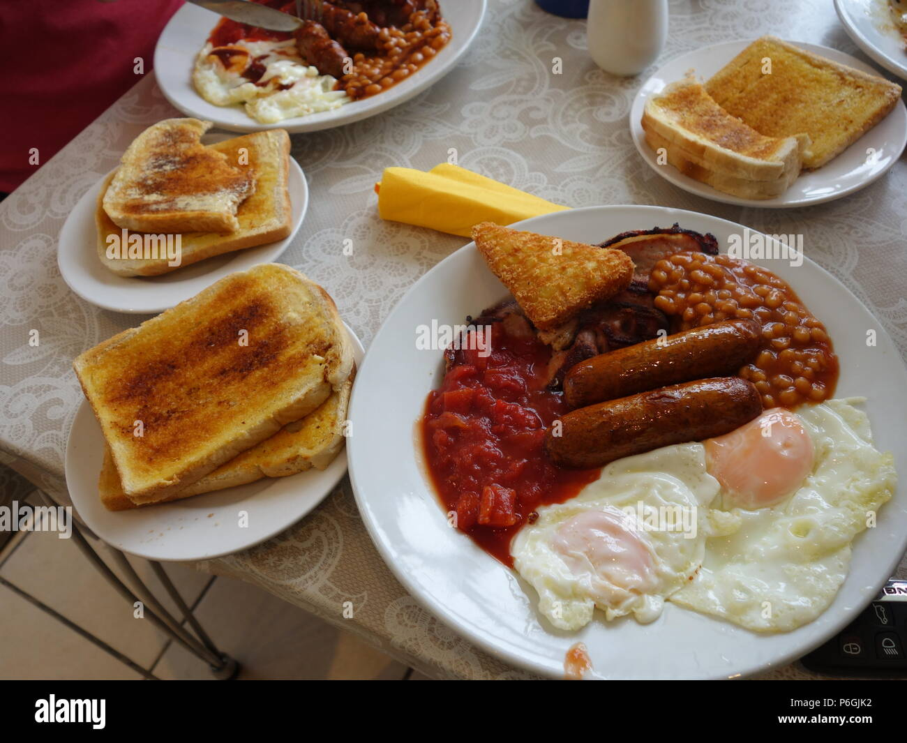 A Big full english greasy breakfast in a cafe in Yorkshire - Stock Image