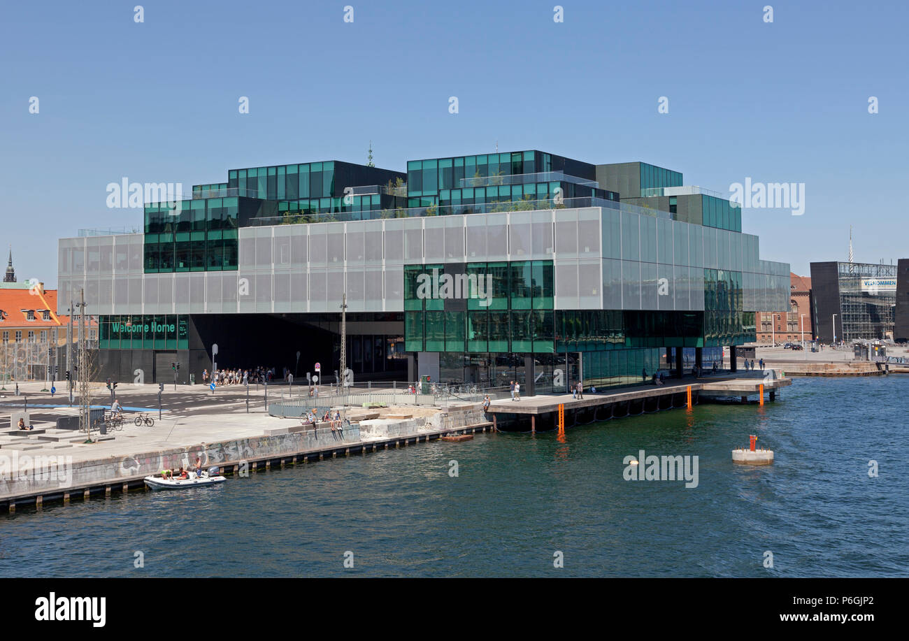 The BLOX building, a new prestige building for architecture and design on Christians Brygge at the waterfront at Frederiksholm Canal. Stock Photo