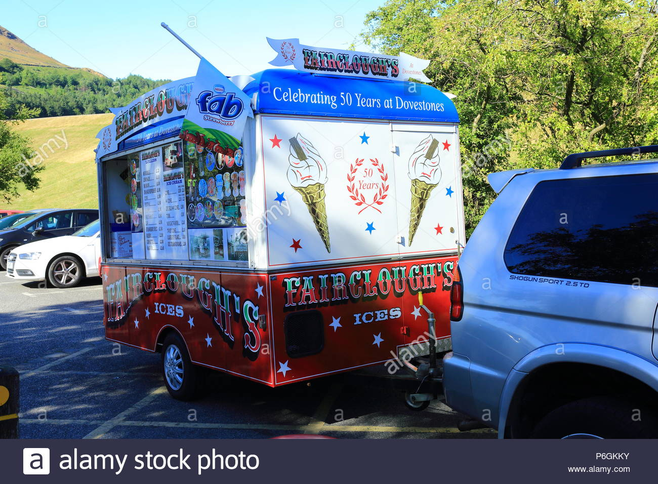 A Faircloughs Ice Cream Van At Dove Stone Reservoir, Peak District National Park, Greenfield, Oldham England Summer July 2018 - Stock Image