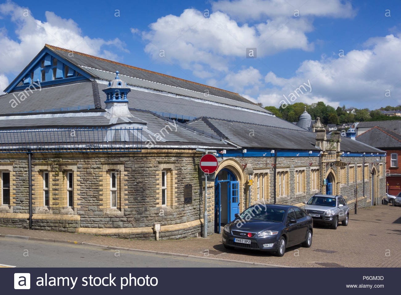 Pontypool Market Hall, a Grade II listed Victorian building in Pontypool town centre Torfaen, Gwent, Wales, UK. - Stock Image