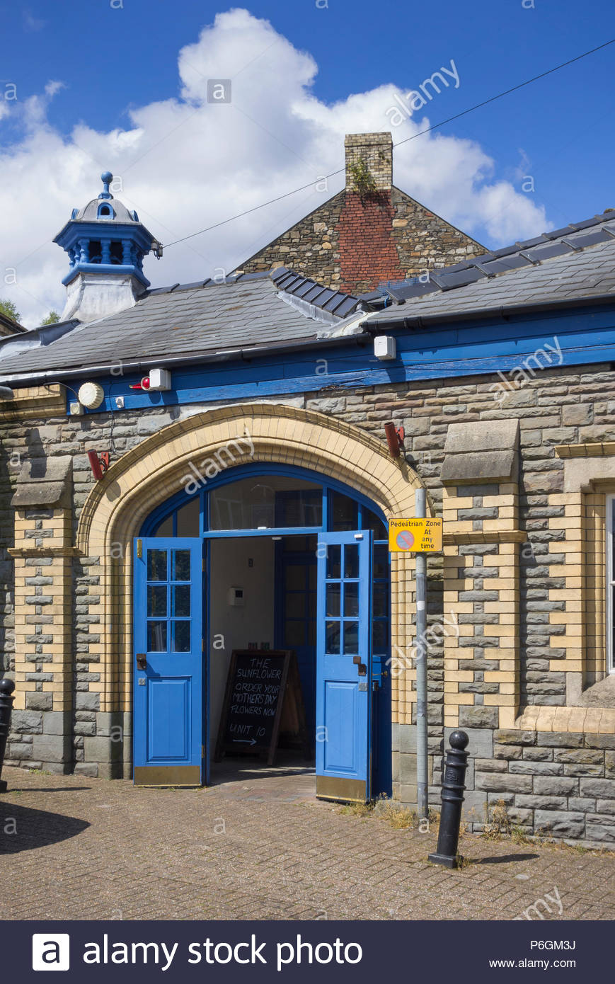 Entrance to Pontypool Market Hall, a Grade II listed Victorian building in Torfaen, Gwent, Wales, UK. - Stock Image