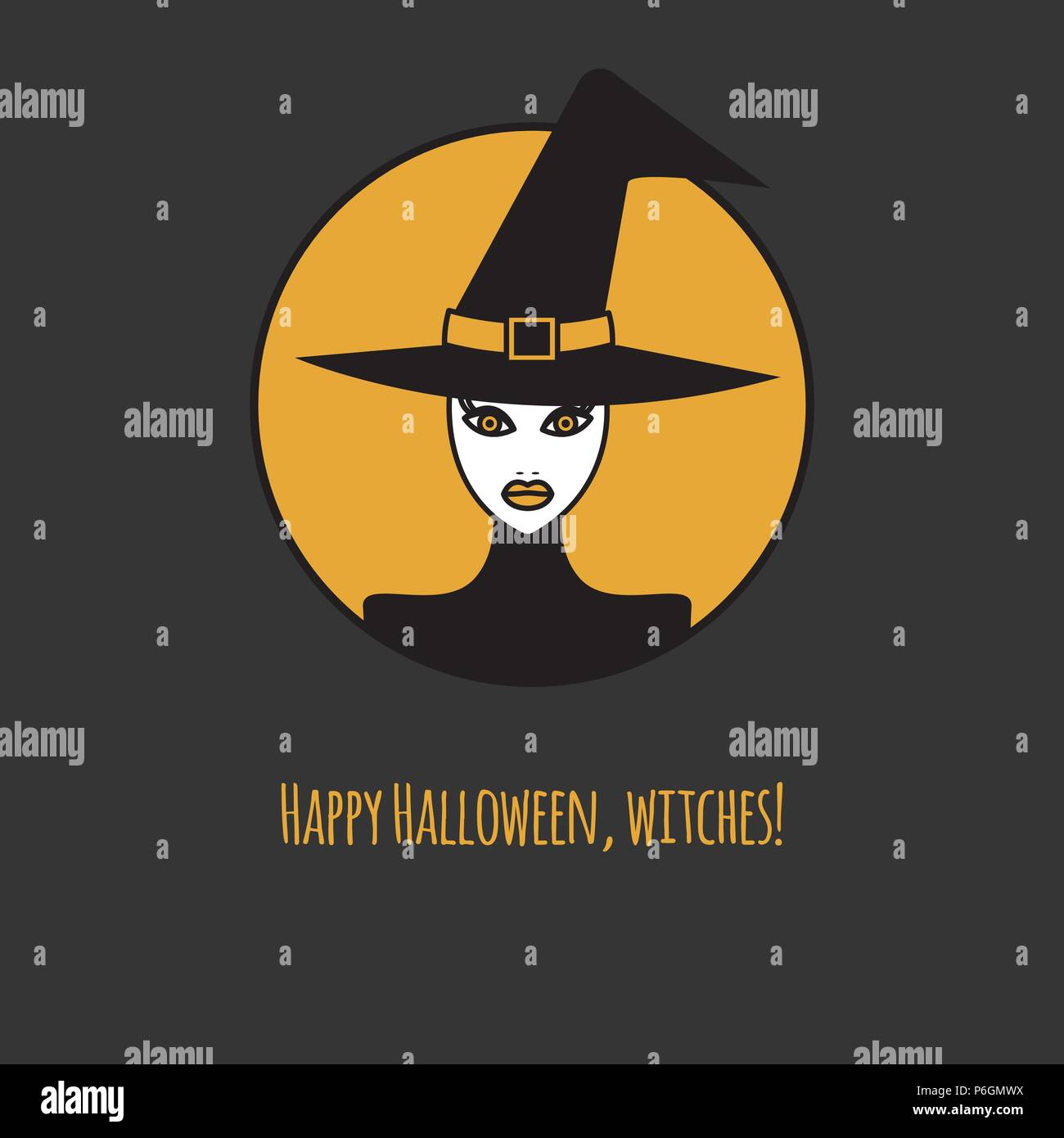 Beautiful Witch, Happy Halloween Card, Witch In Hat, Tag Halloween. Vector  Illustration