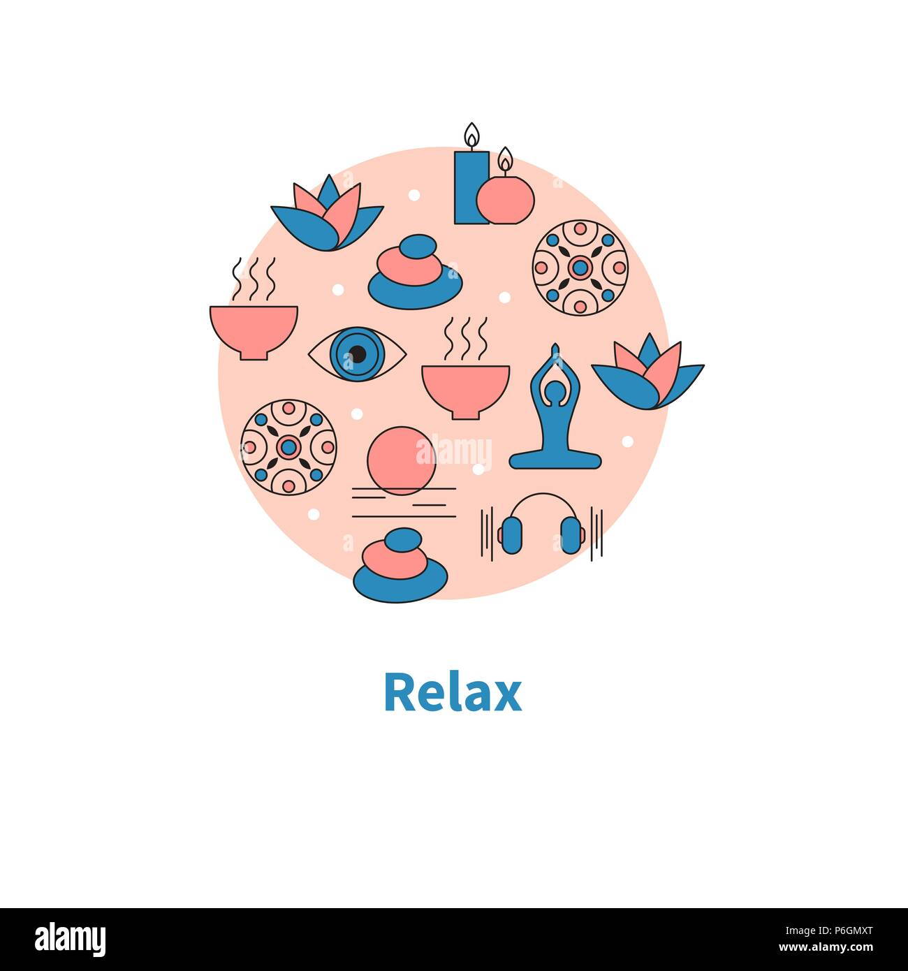 Relaxation Healthy Lifestyle Set Yoga Icons Vector Illustration Stock Vector Image Art Alamy