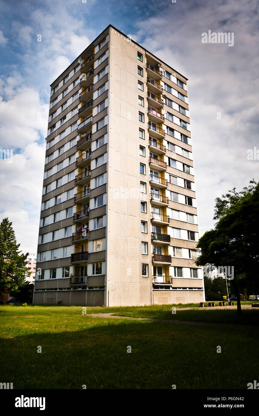 multi story apartments building from prefabricated concrete - Stock Image
