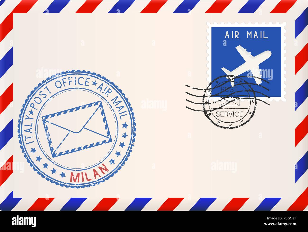 Envelope with blue postmark of Milan, Italy - Stock Vector