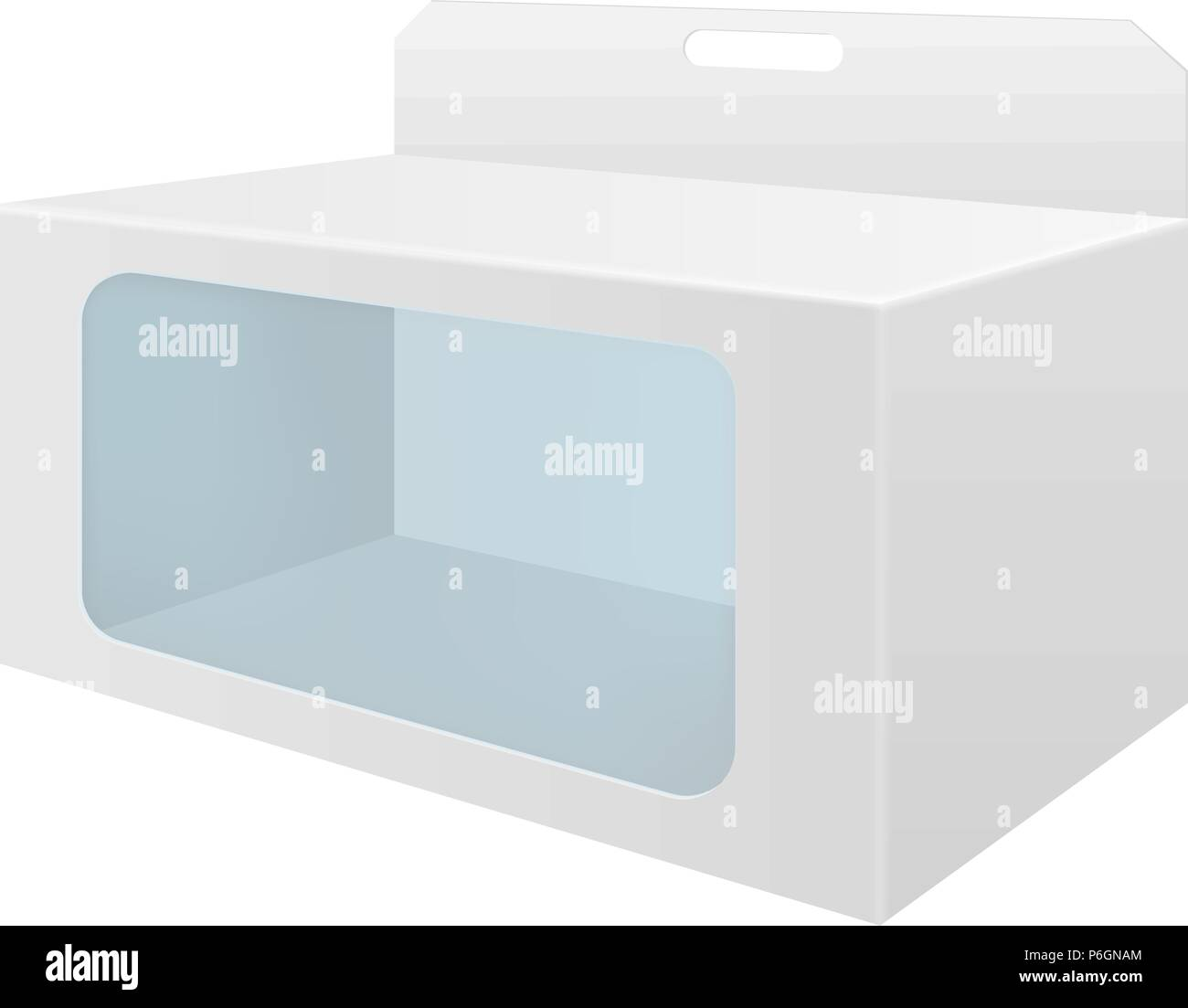 White cardboard box with transparent window - Stock Image
