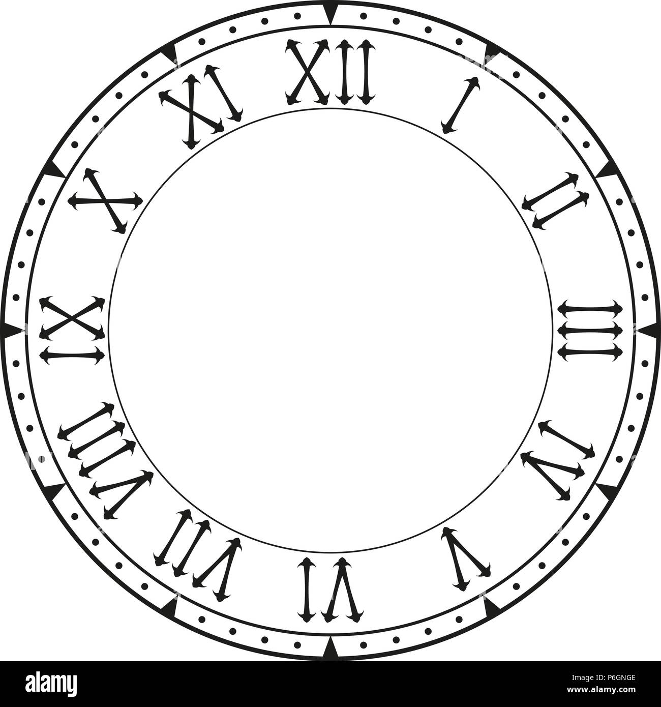 Clock face  Black blank clock with roman numerals Stock Vector Art
