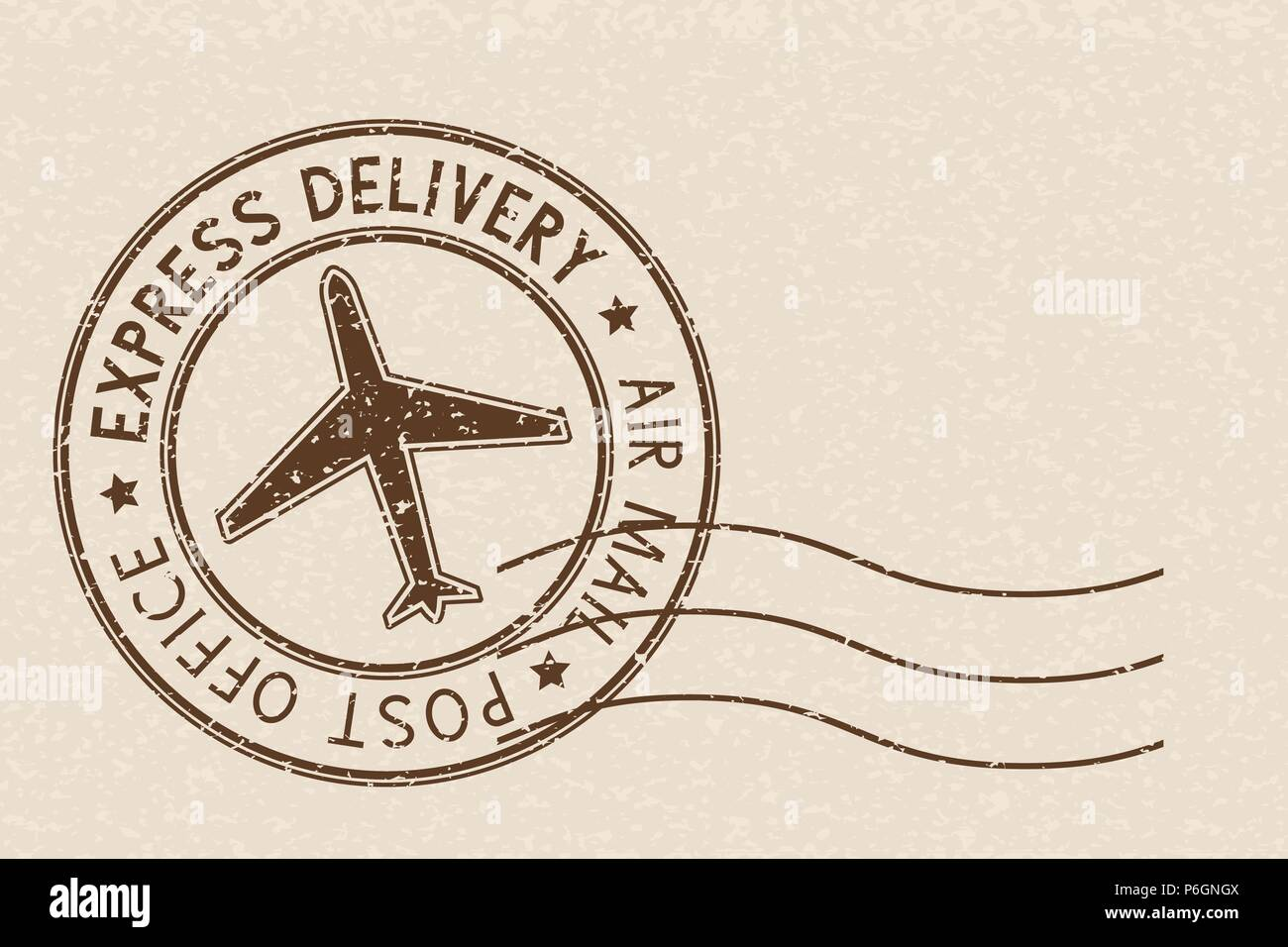 Round brown postmark on beige background - Stock Image