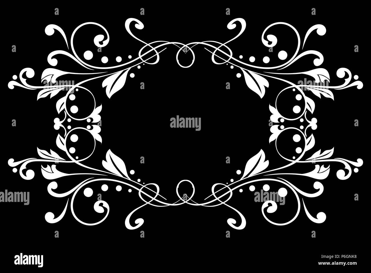 Floral Ornament On Black Background Vintage Frame Stock Vector