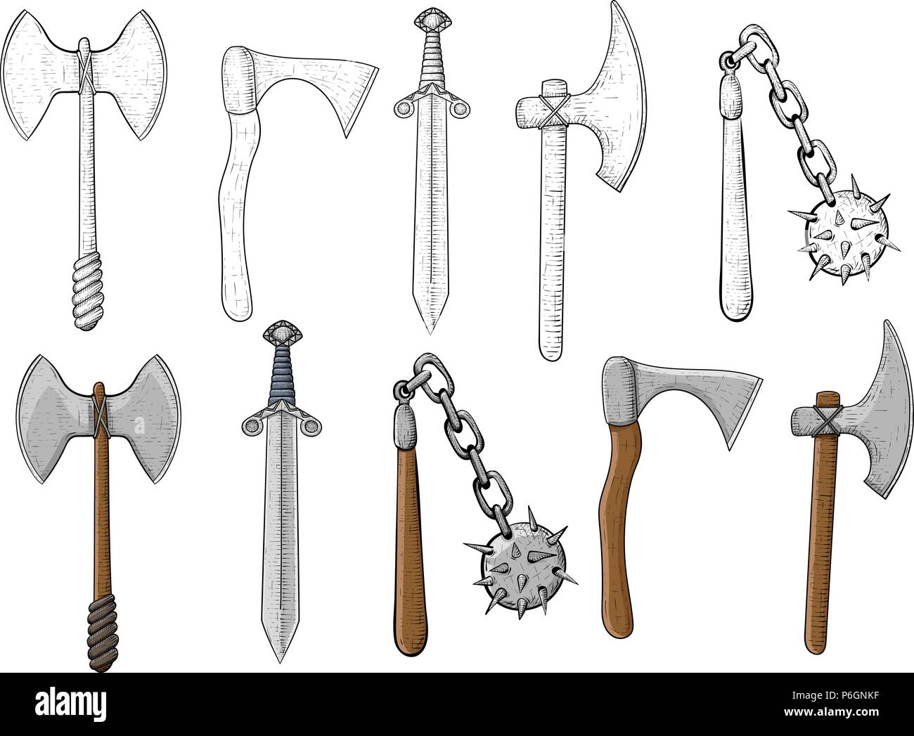 Old set of weapons. Hand drawn sketch - Stock Image