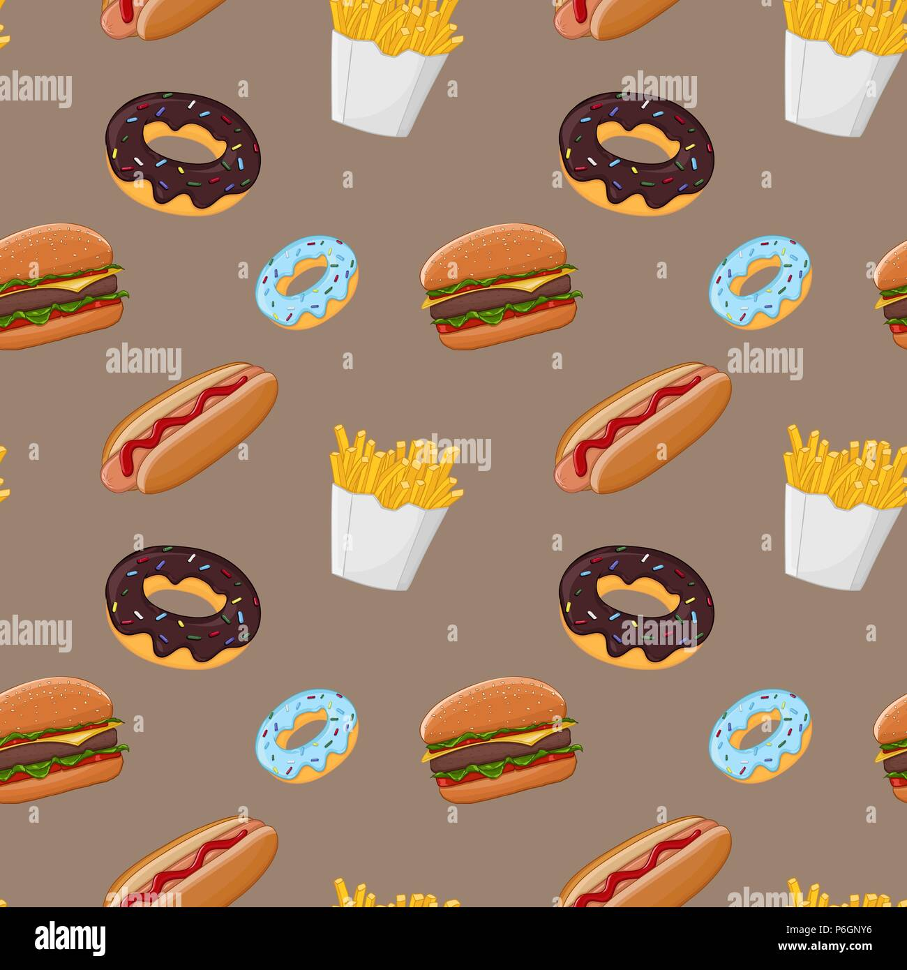 Fast food seamless pattern. Colored vector illustration on brown background - Stock Vector