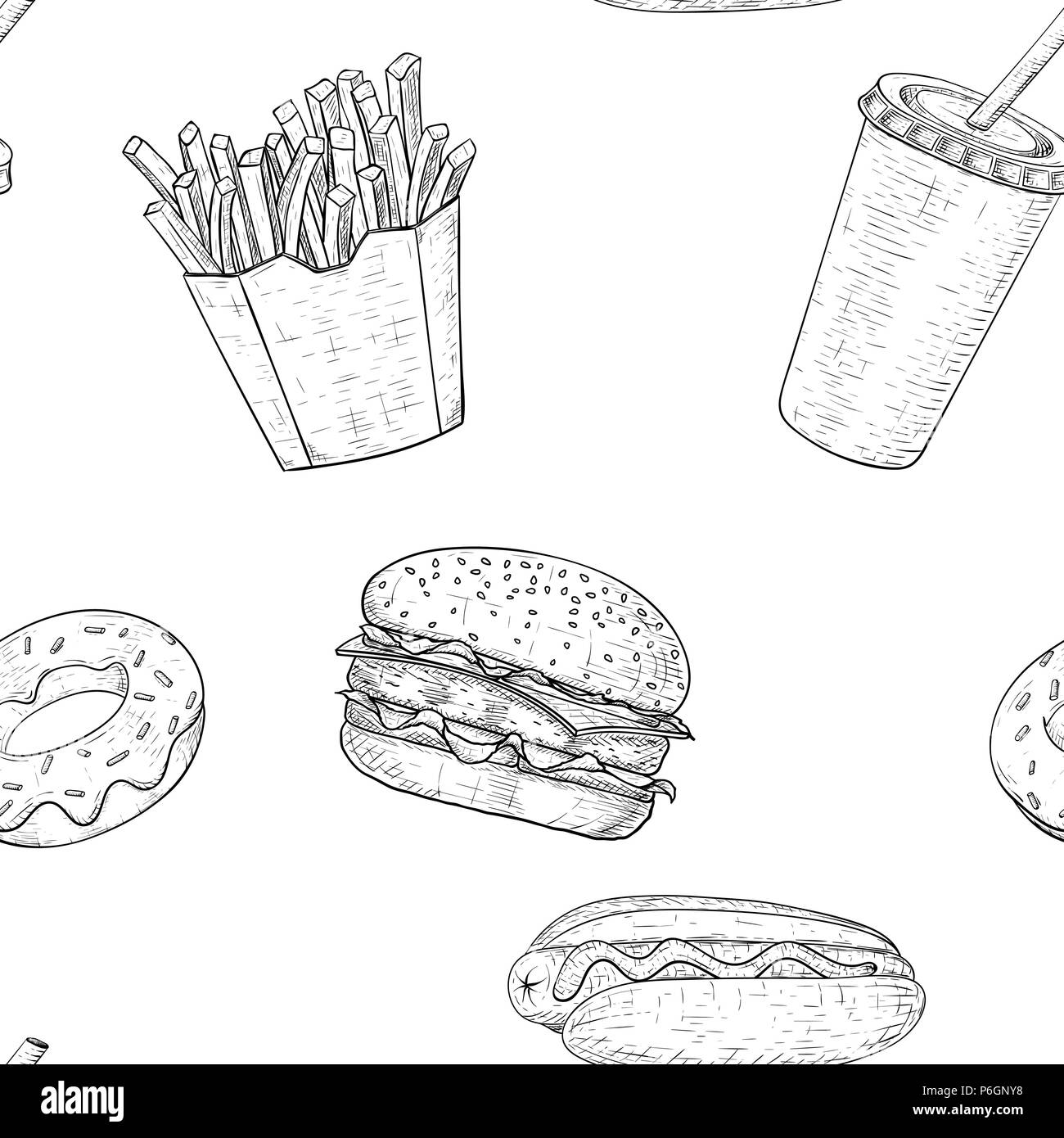 Fast food seamless pattern. Hand drawn sketch - Stock Vector