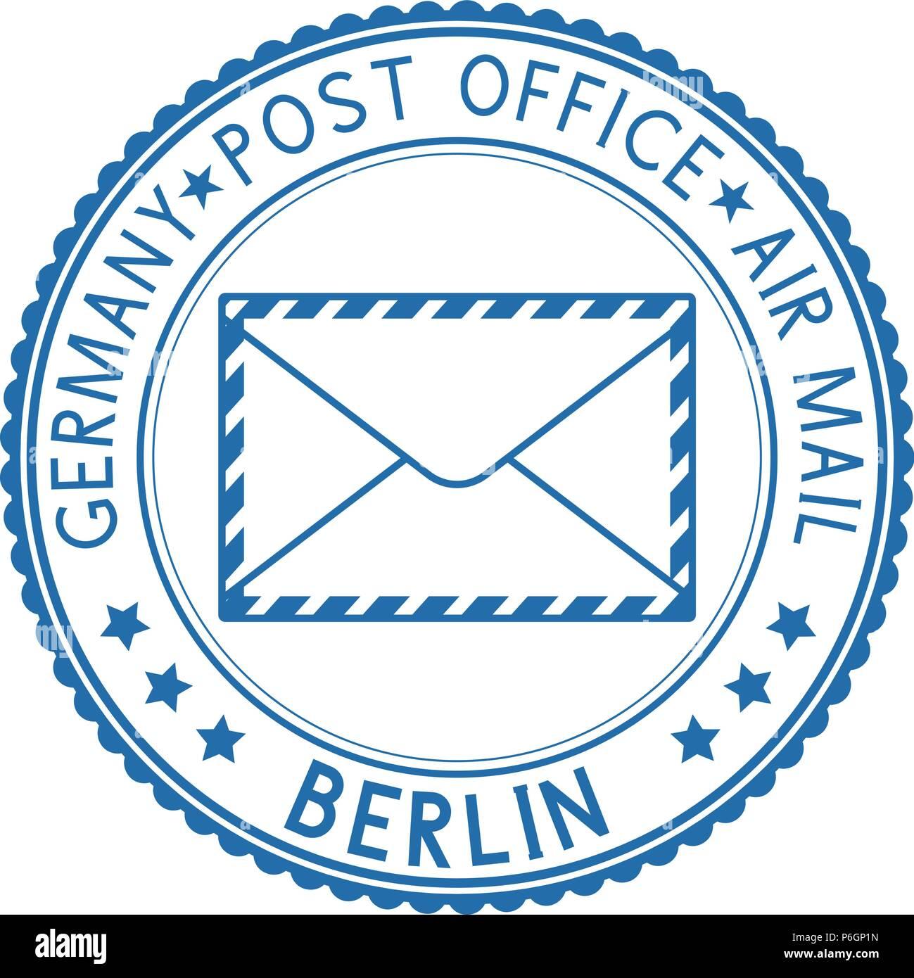 Blue round BERLIN postmark for envelope - Stock Image