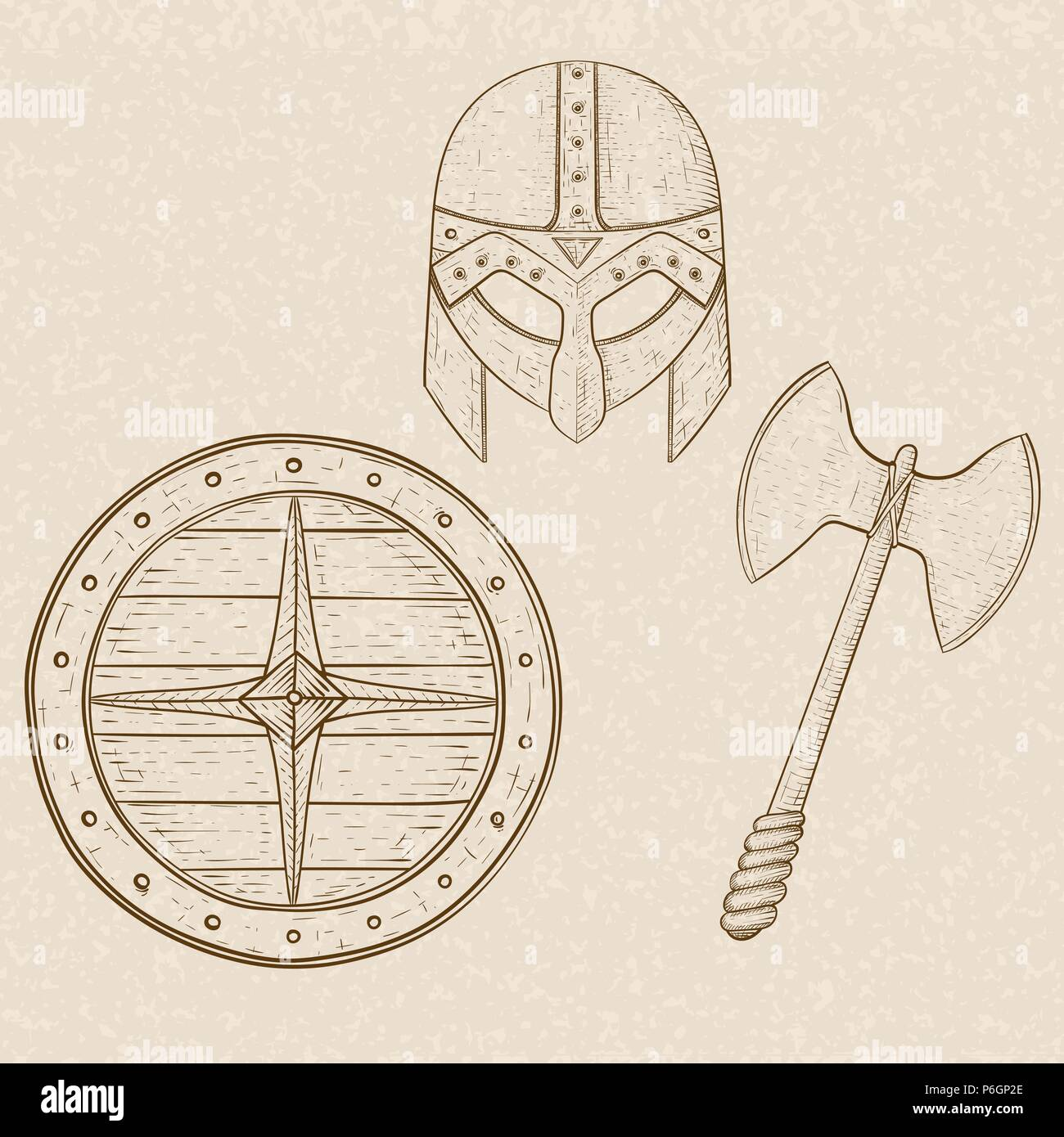 Viking armor set - helmet, shield and axe. Hand drawn sketch on beige background - Stock Image