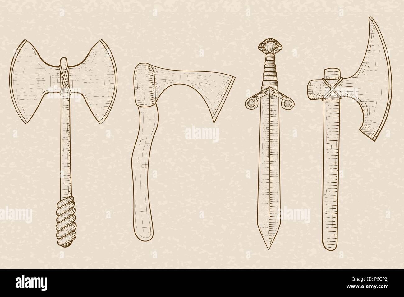 Old set of weapons - axes and sword. Hand drawn sketch on beige background - Stock Image