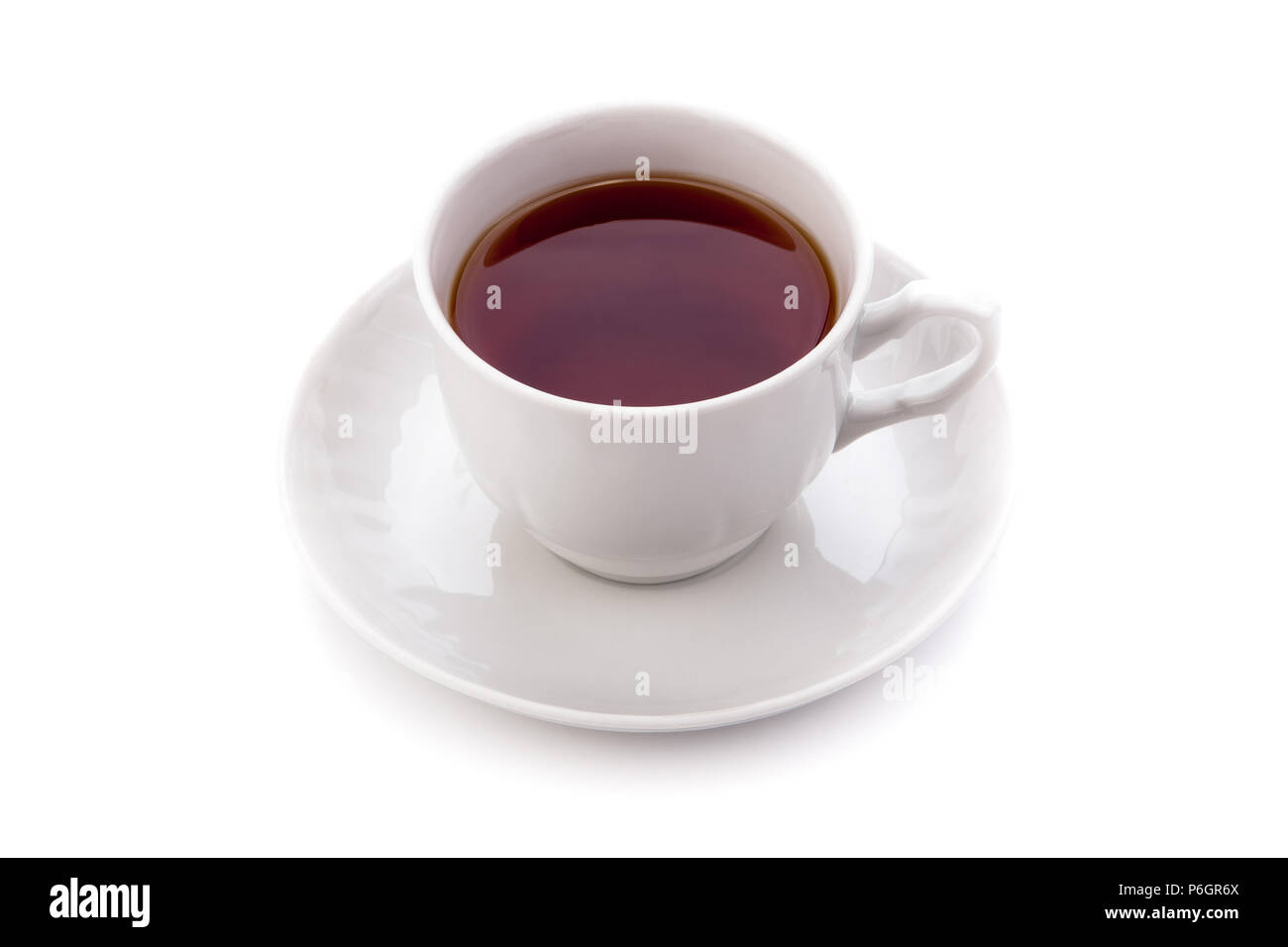 cup of black tea on white background - Stock Image