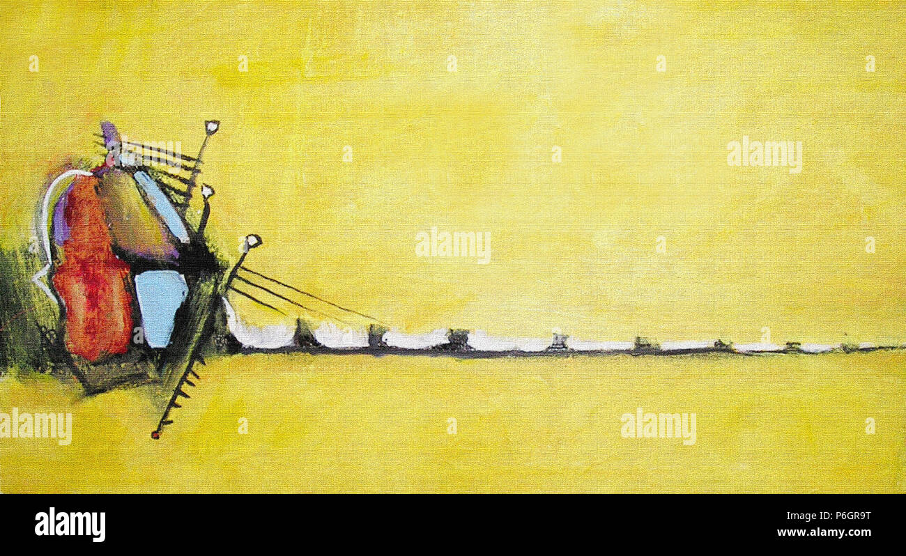 Abstract acrylic painting Sound. Picture in yellow shade for the ...
