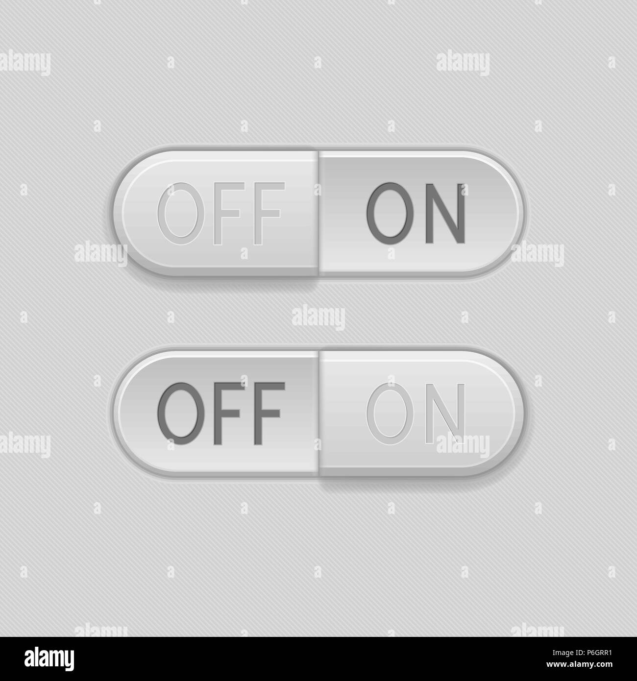 Toggle switch buttons. On and Off 3d oval gray icons Stock Vector ...