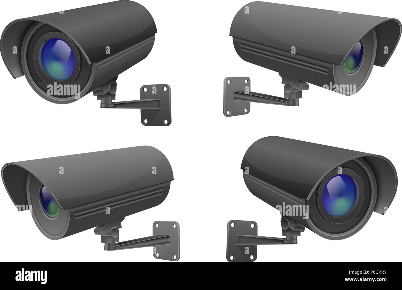 Security camera set. Black CCTV surveillance system - Stock Vector