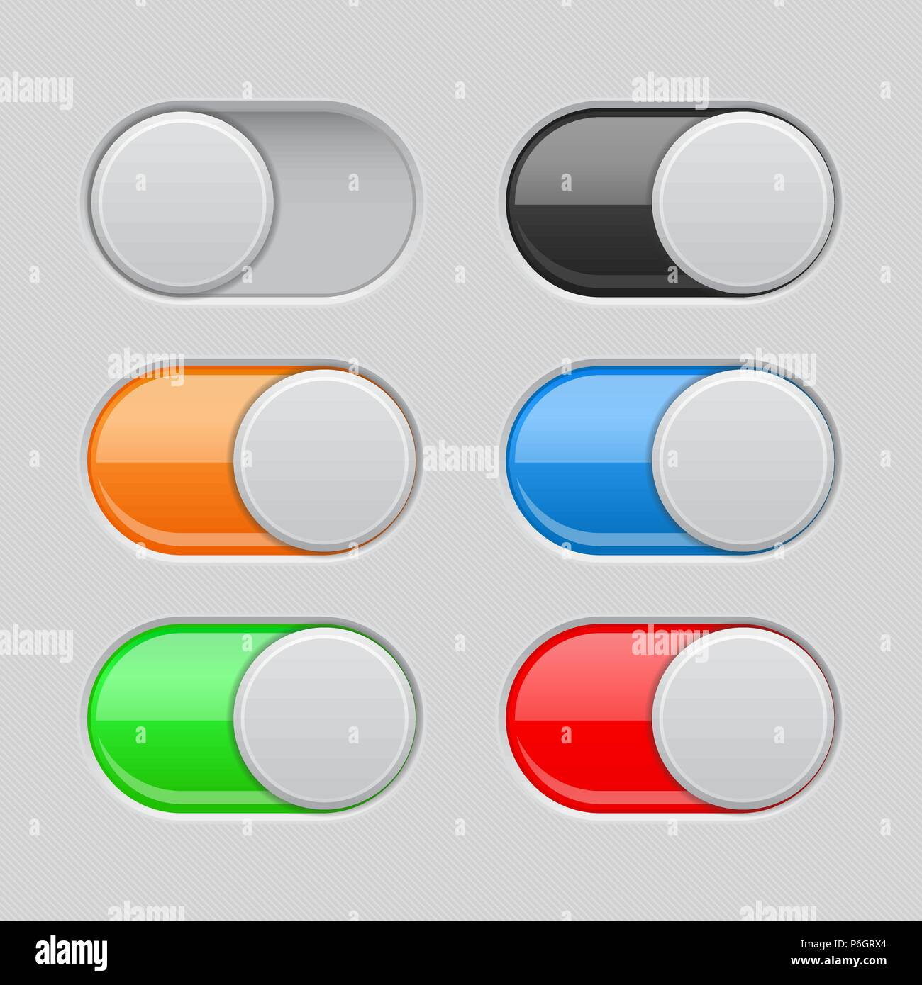 On and Off toggle switch buttons. Colored set of 3d slider icons ...