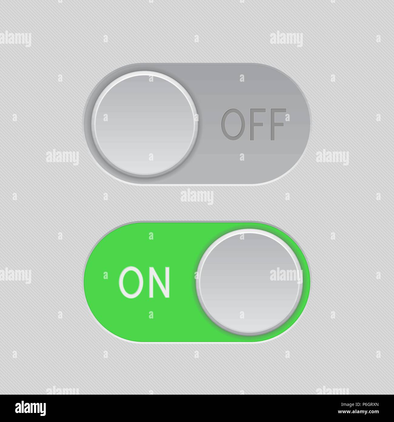 On and Off green toggle switch slider buttons - Stock Vector
