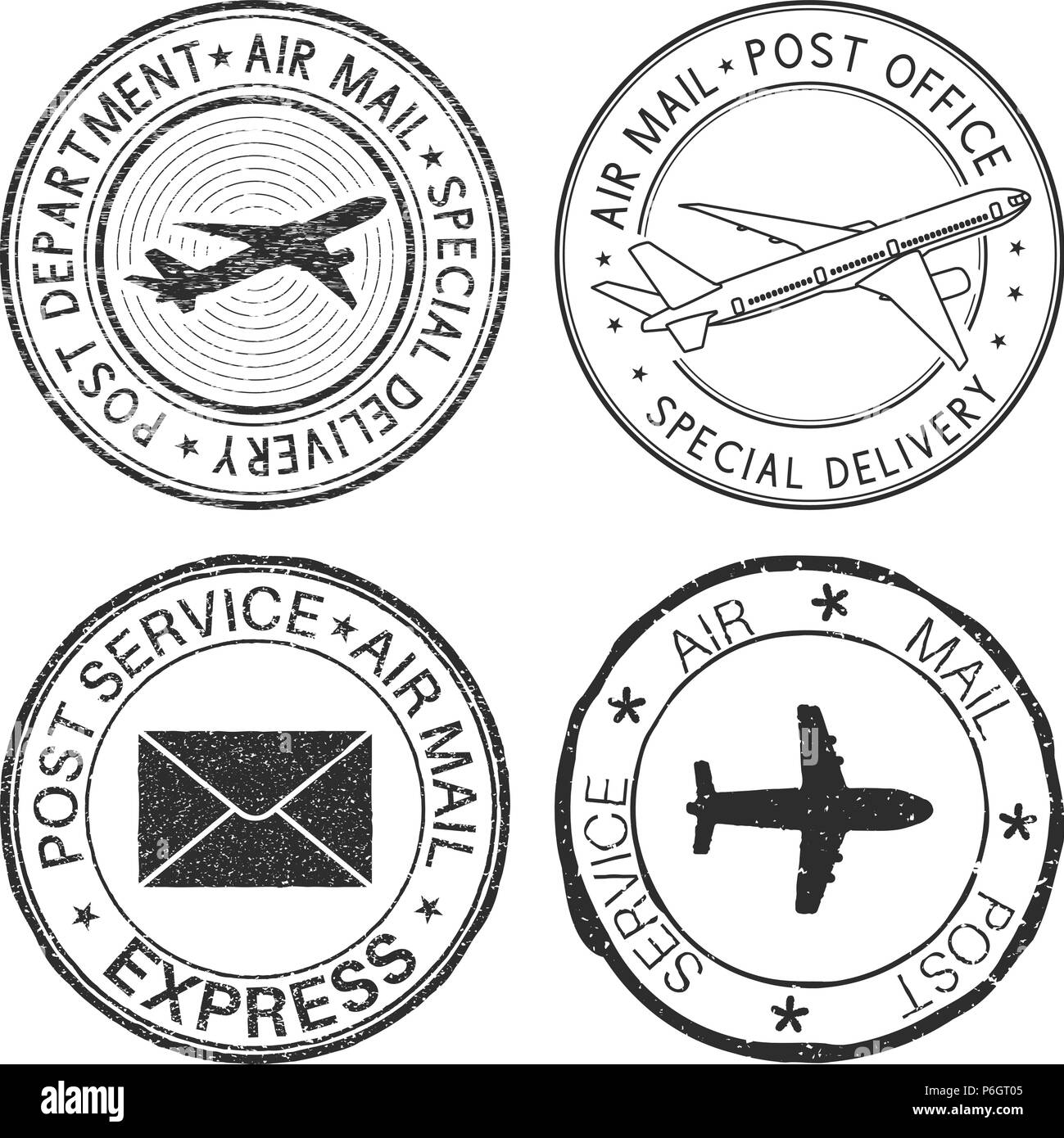 Postmarks with airplane and envelope symbols. Black ink postal stamps - Stock Image