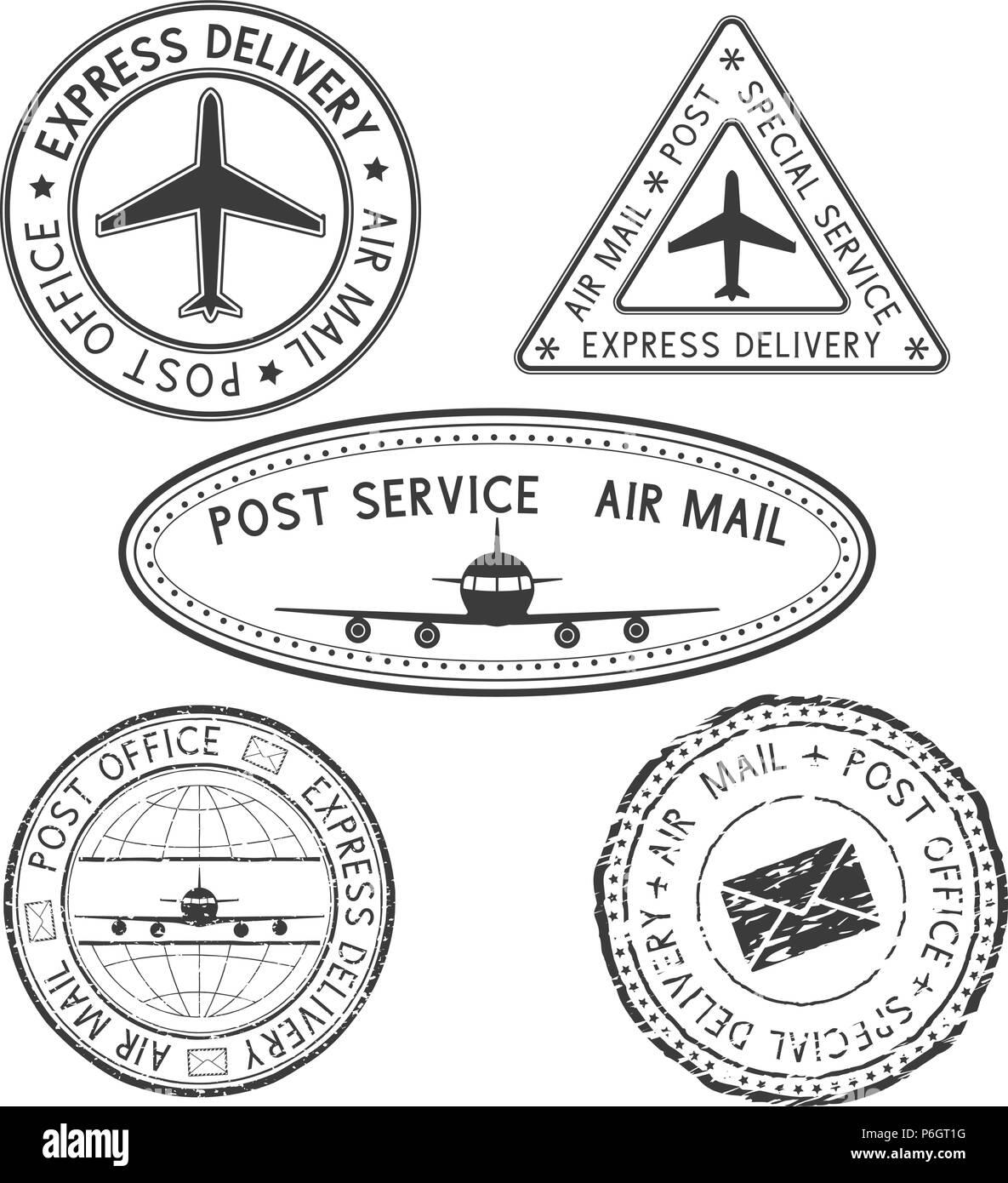 Postmarks. Black ink postal stamps - Stock Vector