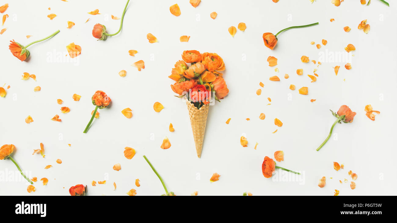 Waffle cone with orange buttercup flowers over white background - Stock Image