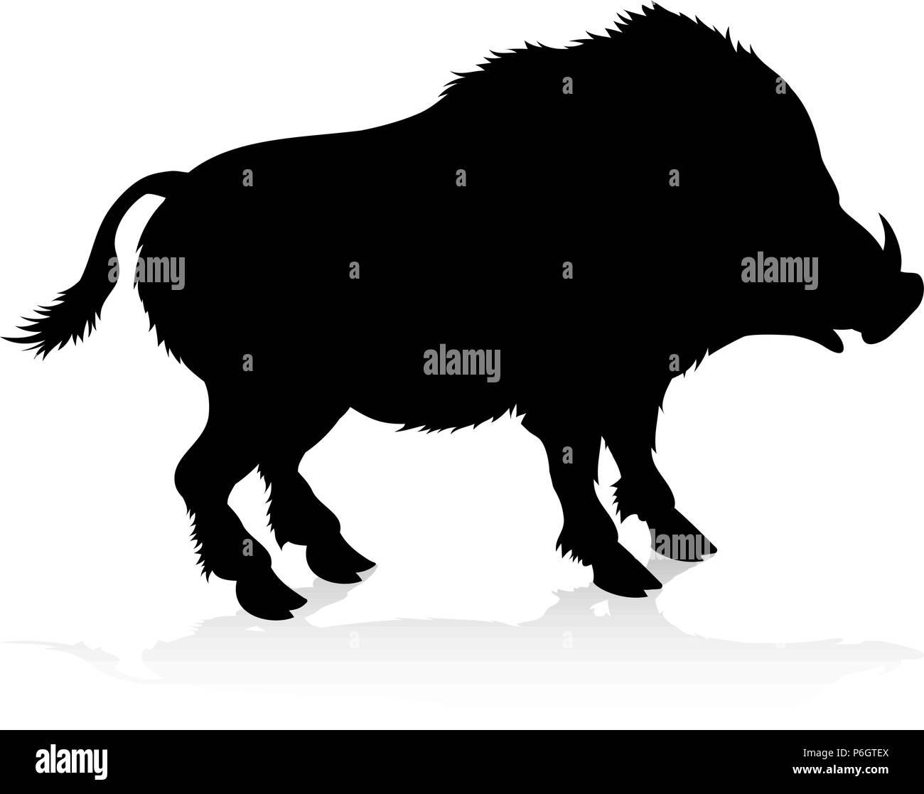 Boar Warthog Animal Silhouette - Stock Image