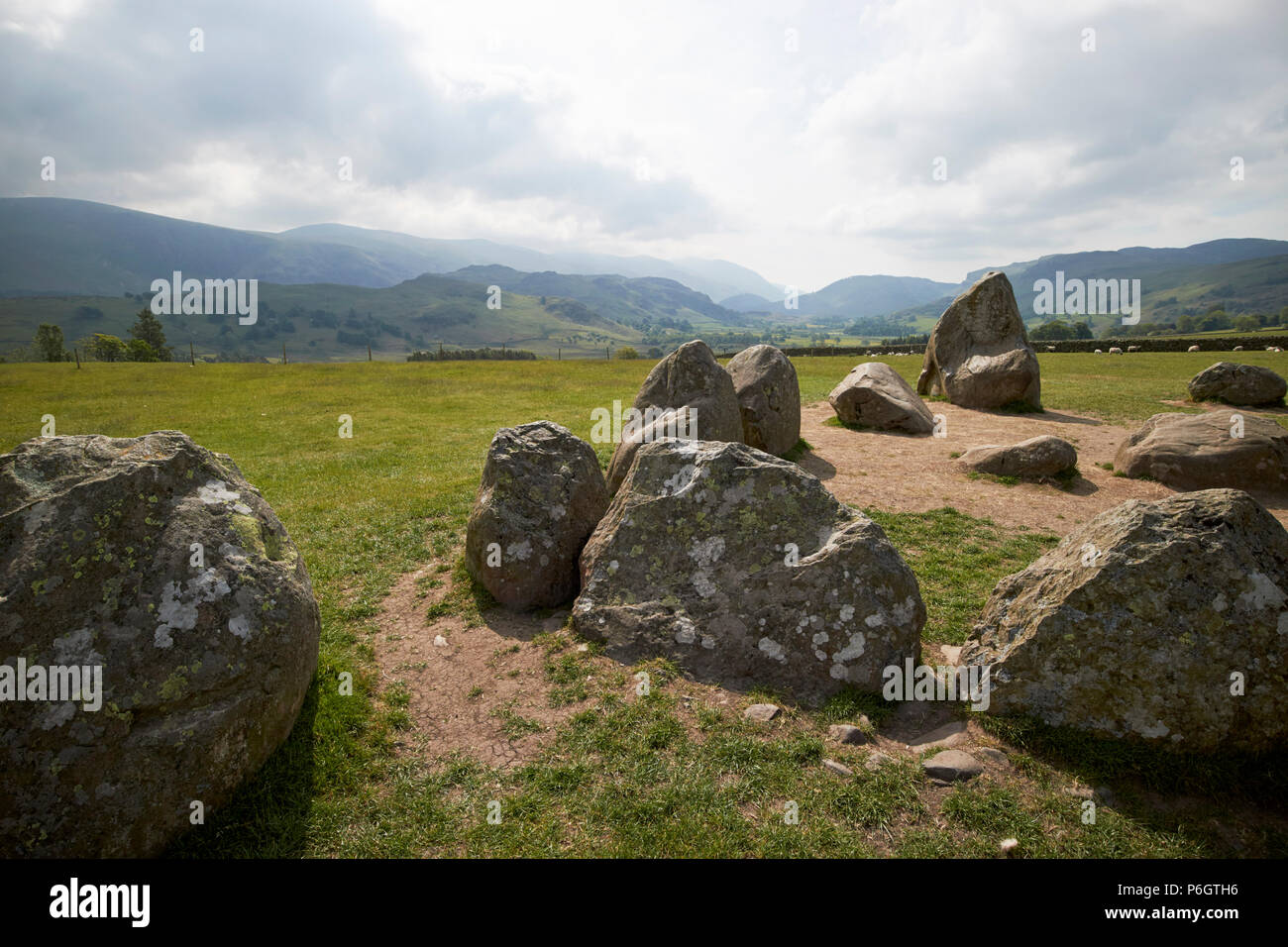 inner rectangle of square of standing stones called the sanctuary in castlerigg stone circle cumbria england uk - Stock Image